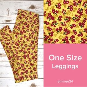 One Size Lularoe Leggings Yellow & Red Floral